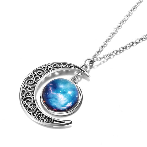 Fancy Starry Sky And Moon Shape Necklace