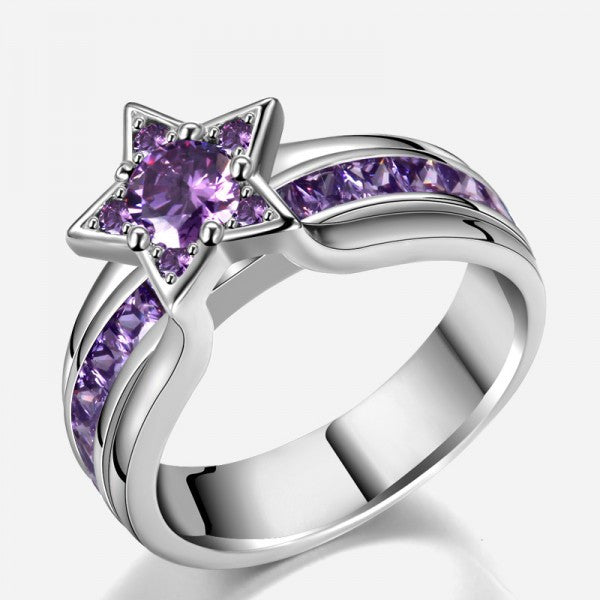 925 sterling silver cubic zirconia star shaped purple diamond engagement ring - Purple Wedding Ring