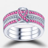 Ribbon Pink Diamond Three-Piece Friendship Ring