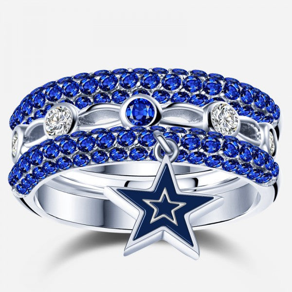 Dallas cowboy sapphire zircon diamond ring set 3 pieces for Valentines jewelry dallas pa