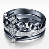 Crown Shape Black Diamond Engagement Ring