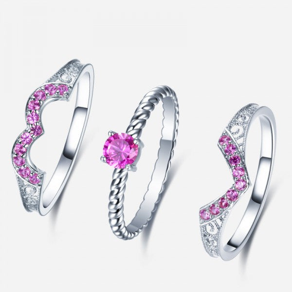 Finest 925 Sterling Silver Heart-shaped Pink Diamond Engagement Ring Set  LL42