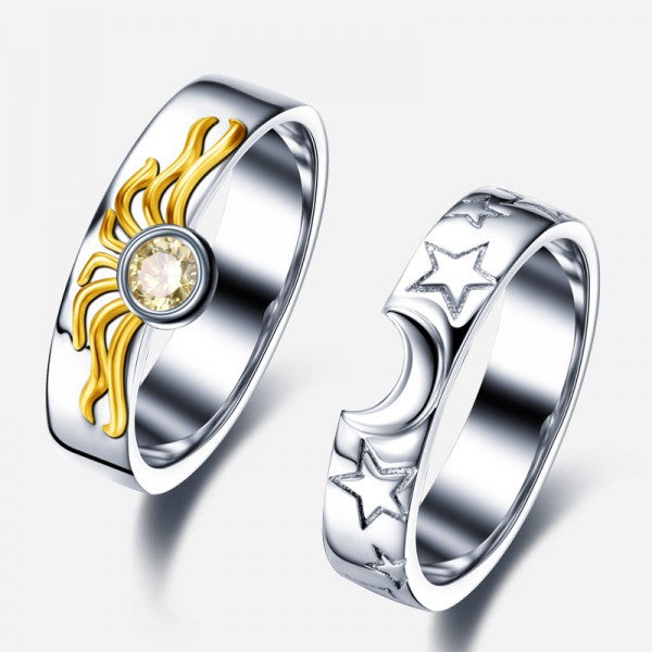 matching sun and moon 925 sterling silver engagement ring for women - Silver Wedding Rings