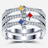 925 Sterling Silver Pittsburgh Steeler Zircon Inlaid Unisex Ring
