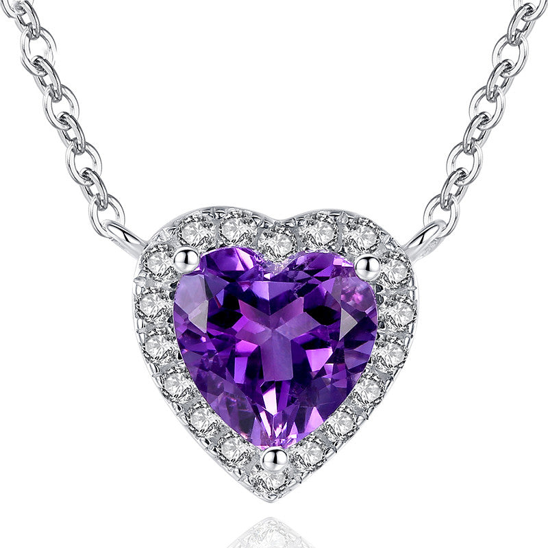 Romantic 925 Sterling Silver Purple Crystal Heart Shaped