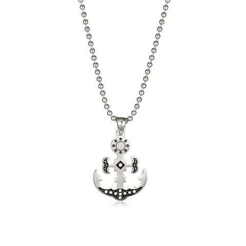 Cross Anchor Titanium Steel Men's Necklace