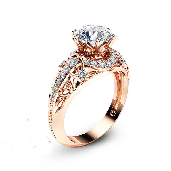 forever brilliant 14k rose gold plated created moissanite 925 sterling silver engagement ring - Gold And Silver Wedding Rings