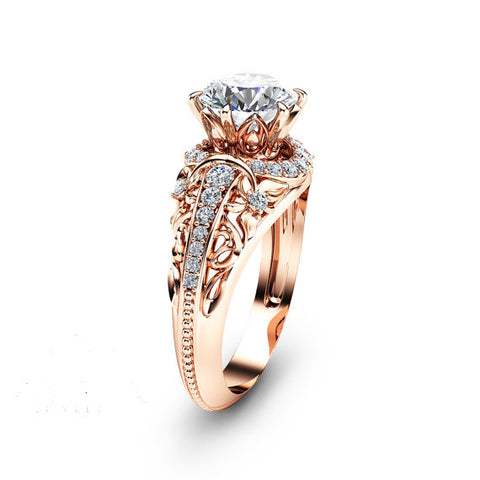 Forever Brilliant 14K Rose Gold Plated Created Moissanite 925 Sterling Silver Engagement Ring