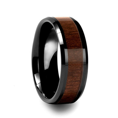 Personalized Men's Wood Inlay Tungsten Ring