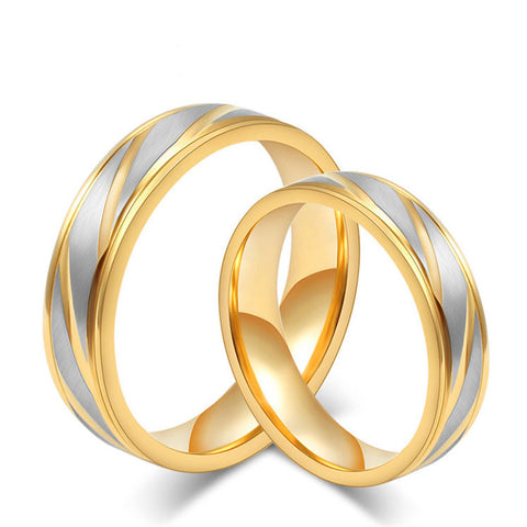 Gold & Silver Strip Promise Couple Rings
