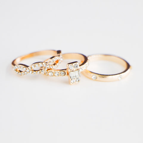 Rose Gold Twist Zircon Inlaid Engagement Wedding Ring Set