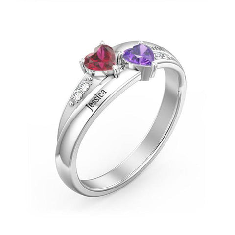 Birthstone Customized Mutual Affinity Heart-Heart 925 Sterling Silver Engagement Ring