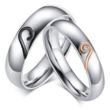 Stainless Steel Wedding Promise Heart Shape Couple Rings
