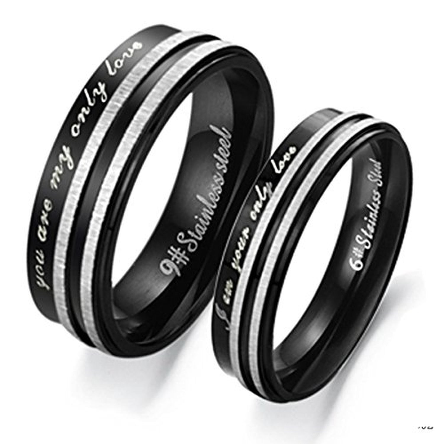 Personalized Stainless Steel Memory Stripe Couple Promise Rings ...
