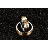Stainless Steel Cam CZ Couple Wedding Rings