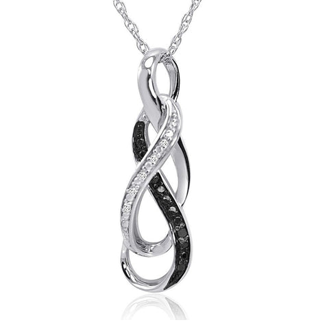 Black and White Diamond Infinity Pendant Necklace
