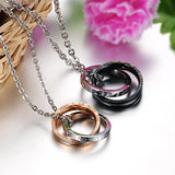 Men Women Couples Eternal Love Double Rings Couple Pendant Necklaces