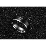 Titanium Steel Cubic Zirconia Matte Finished Black Couple Wedding Rings