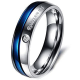 Roses Are Red Stainless Steel Blue Silver Promise Proposal Couple Rings