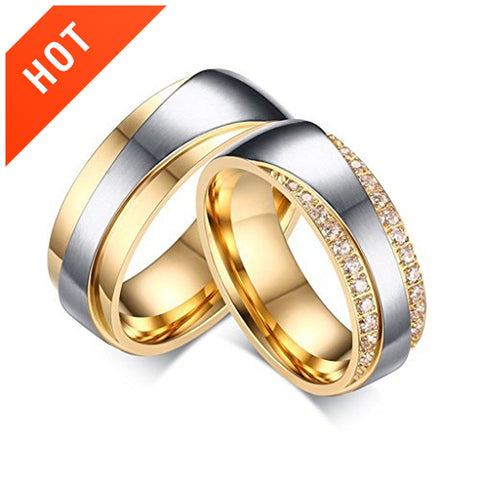 CZ Diamond Gold Plating Couple Wedding Couple Rings