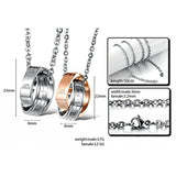 Couples Stainless Steel Two Interlocking Ring Necklaces LOVE AFFAIR