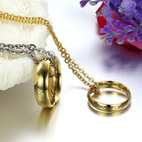 Golden Lord Ring Stainless Steel Pendant Love Couples Necklaces