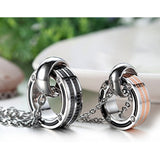 Stainless Steel Pendant Double Rings Couple Necklaces