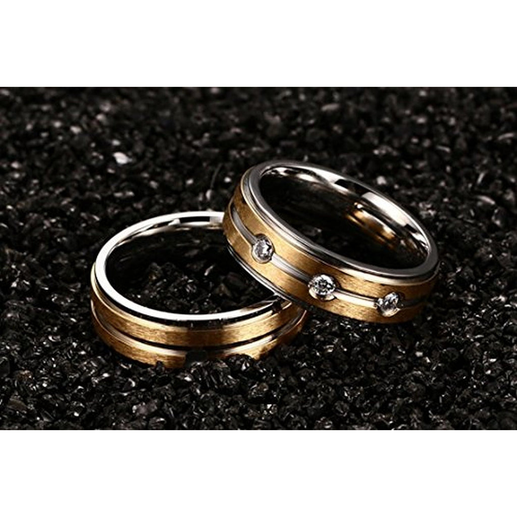 stainless steel cam cz couple wedding rings - Couple Wedding Rings