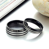 Personalized Stainless Steel Memory Stripe Couple Promise Rings