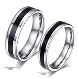 Black Match Silver Couple Rings