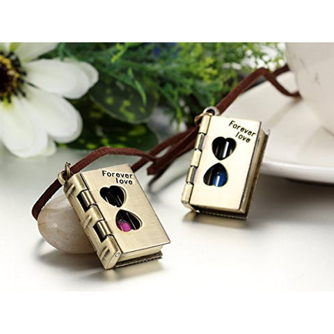 Couples Forever Love Letter Book Hourglass Pendants Men Women Heart Necklaces