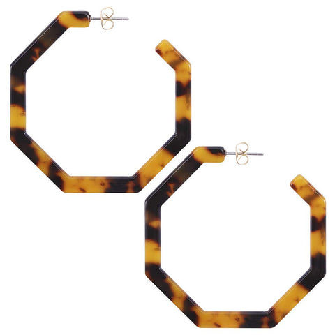 Bohemian Fashion Geometric Octagon Lightweight Resin Hoop Earrings