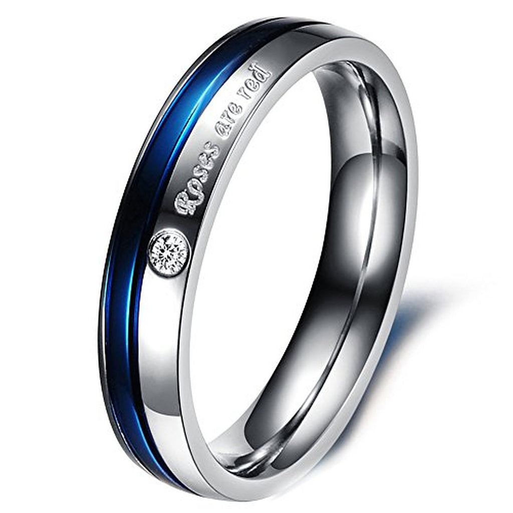 blue wedding wife police thin pin law line enforcement steel pd ring engagement rings