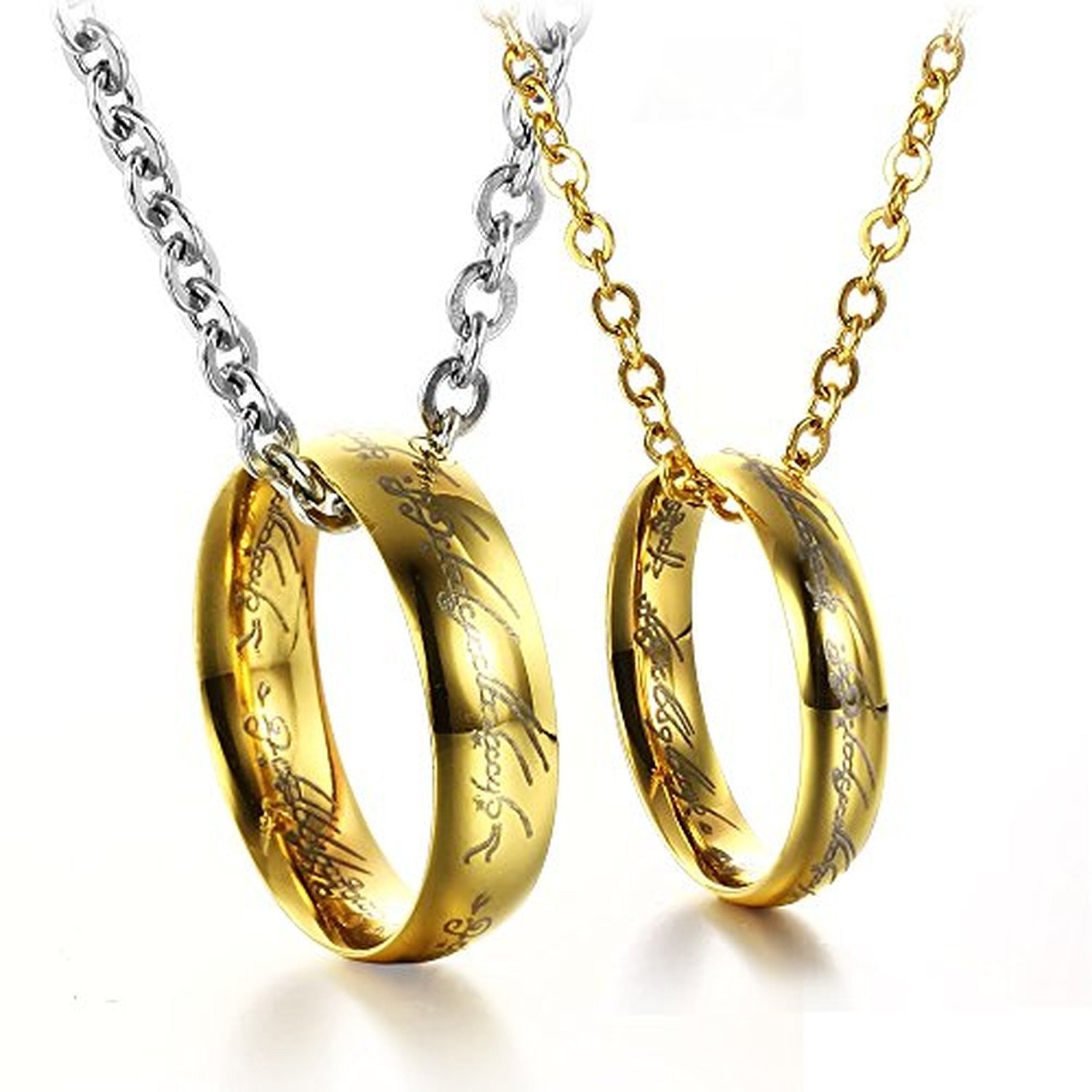 Golden lord ring stainless steel pendant love couples necklaces azwomens stainless pendant couples necklaceb00rz5kuxu aloadofball Images