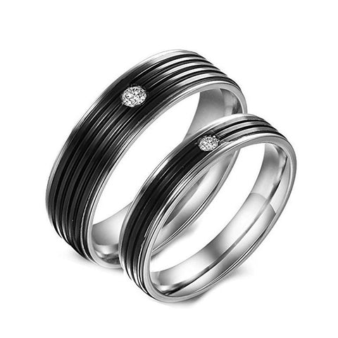 Black His Hers Stainless Steel Promise Couple Rings