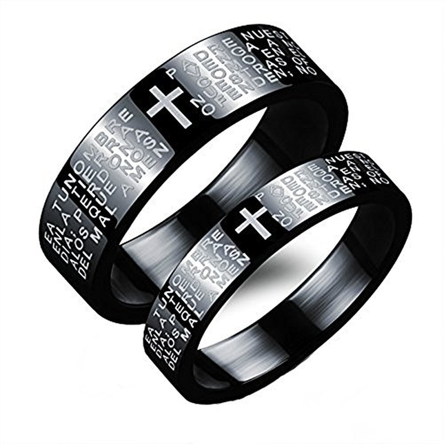 Stainless Steel Couples Matching Rings Set Bible in Spanish Lords