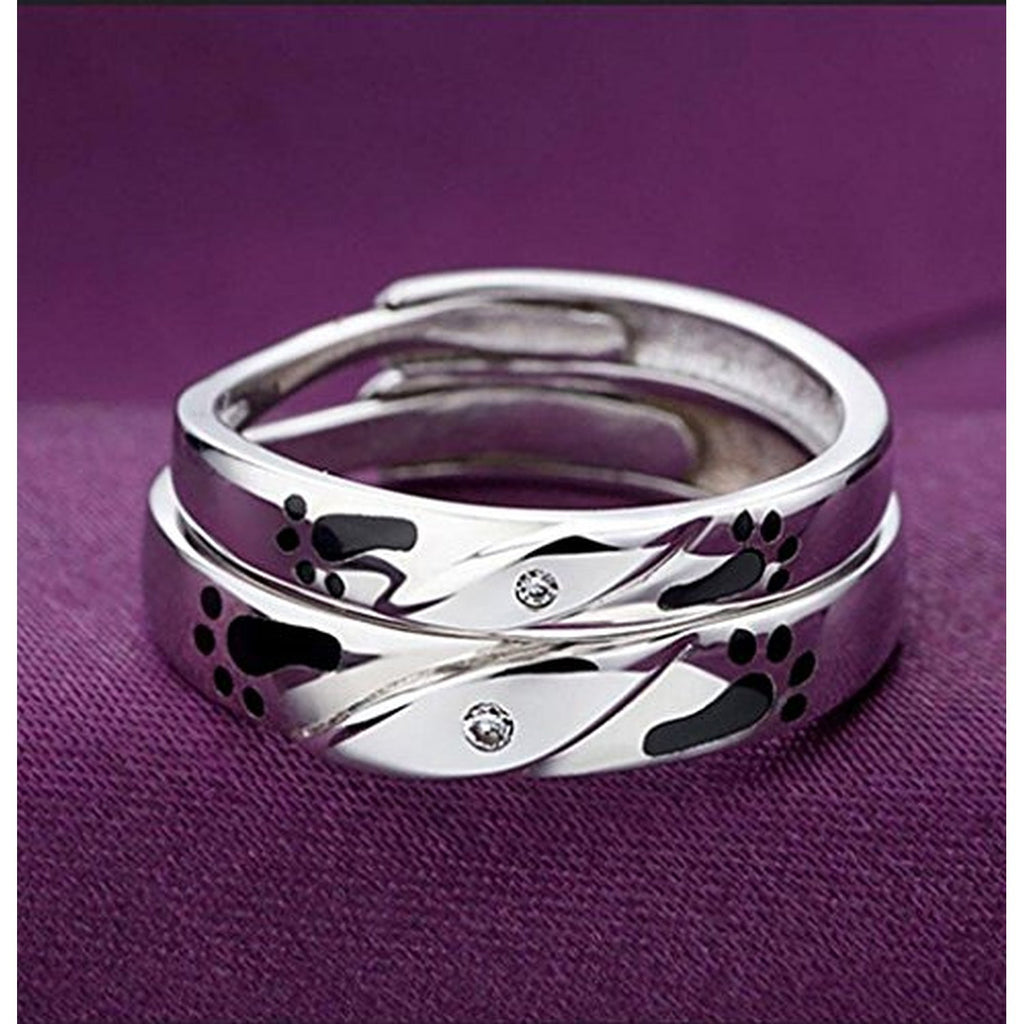 925 Silver Plated Platinum Footprints of Love Couple Rings ...