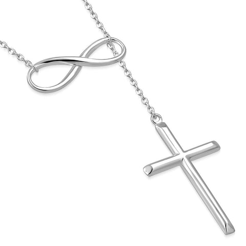 Infinity Cross 925 Sterling Silver Religious Pendant Necklace