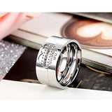Cubic Zirconia Heart Matching Stainless Steel Eternity Promise Couple Rings