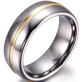 Two Tone Tungsten Gold Color Groove Inset Couple Rings