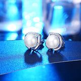 Freshwater Cultured Love Heart Pearl 925 Sterling Silver Stud Earrings