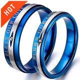 Bless Our Love Blue Silver Couple Rings