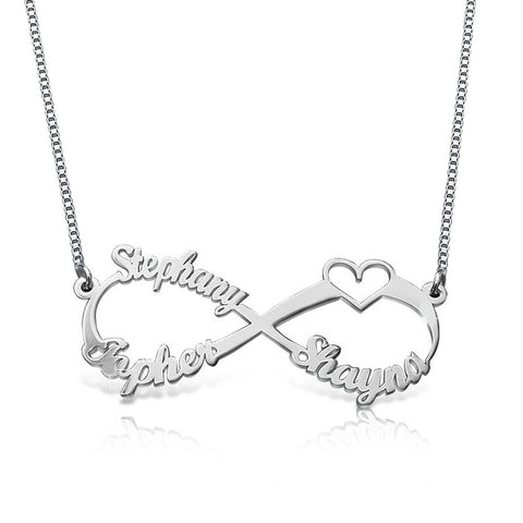 Personalized Infinity Family Name 925 Sterling Silver Necklace