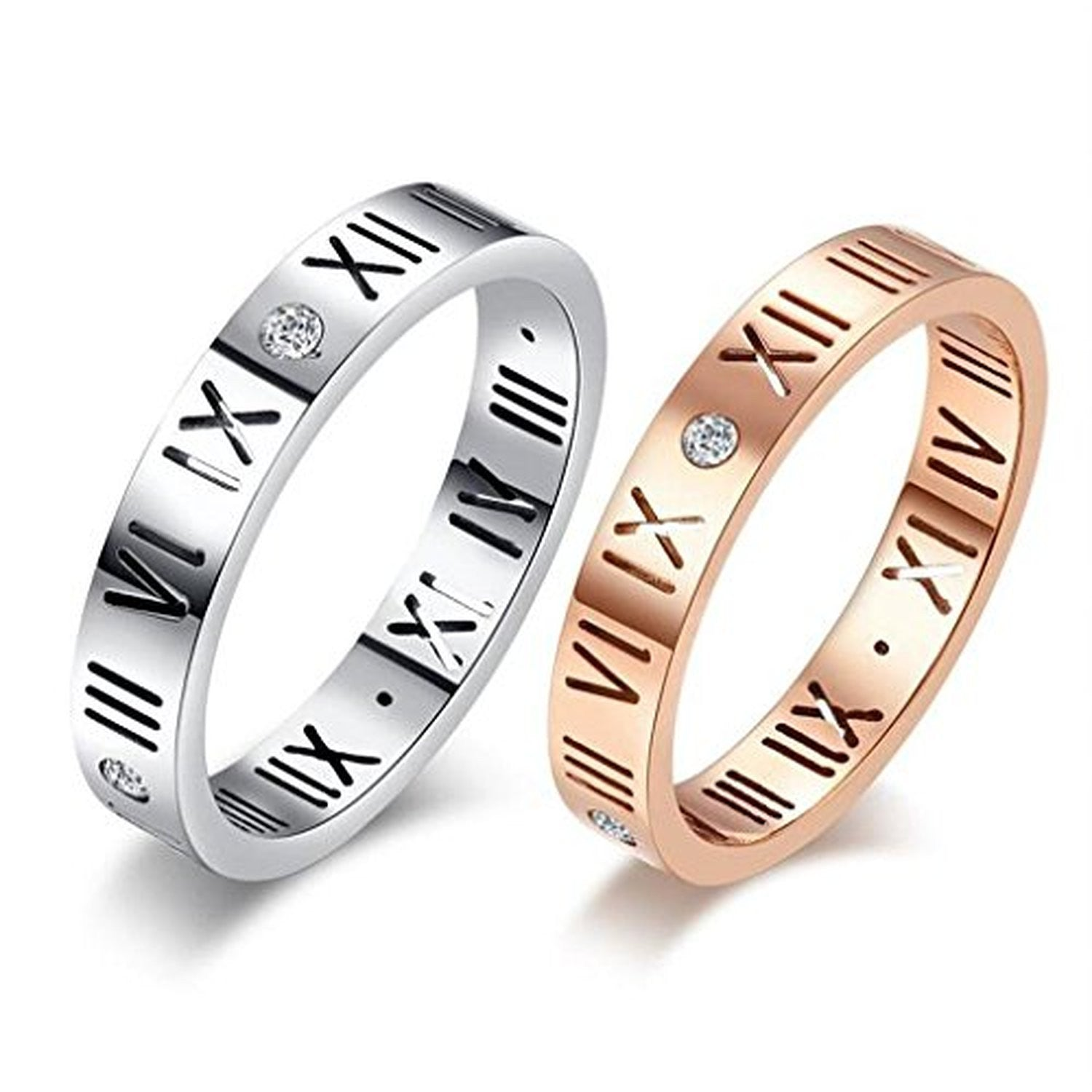 DiamondLucky Number Roman Numerals Couple Rings EverMarker