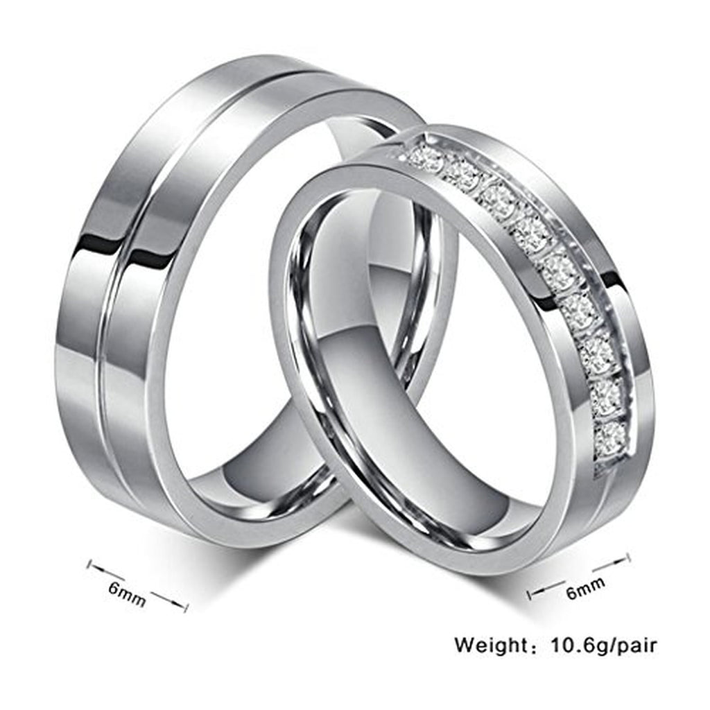 Beydodo Stainless Steel Rings Wedding Bands For Unisexs CZ Couple