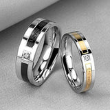 Black Rose Gold Engrave Love Words CZ Inlay Couples Rings