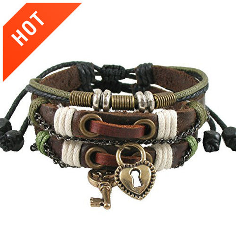 Couple Bracelets Key And Lock Leather Brown