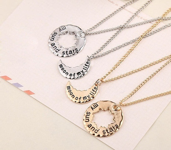 New fasion a pair of necklace moon of my lifemy sun and stars moon of my life my sun and stars couple necklaces aloadofball Image collections