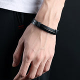 New Fashion Leather and Titanium Men's Bracelet