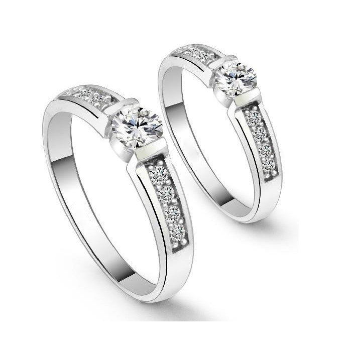 18K White Gold Plated White Crystals Couple Band Ring 2 PIECE SET